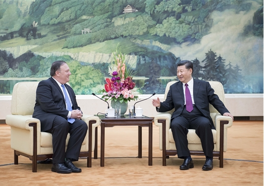시진핑과 폼페이오 중국서 회담
